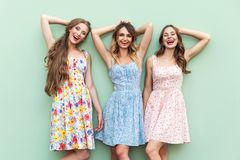Piękne dziewczyny w sukni, stoi przed zielonym tłem Obrazy Royalty Free
