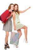 Piękne dziewczyny z toreb pozować Fotografia Stock