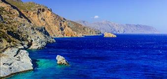 Piękne dzikie plaże Amorgos wyspa - Agia Anna Grecja Fotografia Stock