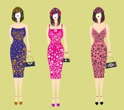 Piękne eleganckie suknie dla dziewczyn ilustracji
