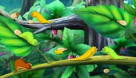 Piękne gąsienicy Czołgać się na Drzewnym pełnego koloru wizerunku Obrazy Stock