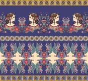 Piękne granicy z kobieta kwiatami i portretami royalty ilustracja