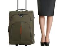 Piękne kobiet nogi i podróży walizka Zdjęcie Royalty Free