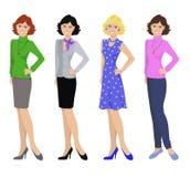 Piękne kobiety w różnych strojach, płaskie ikony na białym tle Zdjęcie Royalty Free