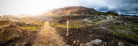 Piękne kolorowe powulkaniczne góry Landmannalaugar w Iceland, ziemska formacja obraz stock