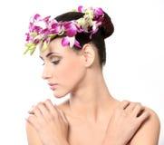 piękne kwiaty, białą kobietę odizolowanych young Obrazy Stock