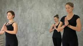 Piękne młode kobiety medytuje w studiu Obraz Stock