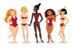 Piękne młode kobiety różna narodowość w bikini Zdjęcia Royalty Free
