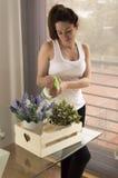 Piękne młodej kobiety podlewania rośliny Fotografia Stock