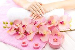 Piękne menchie robią manikiur z orchideą, świeczką i ręcznikiem na białym drewnianym stole, Obrazy Stock