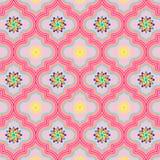 Piękne miękkich części menchie dekorowali Marokańskiego bezszwowego wzór z kolorowymi kwiecistymi projektami ilustracji