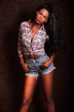 piękne murzynek young Amerykanina Afrykańskiego Pochodzenia model na rocznika tle obrazy stock