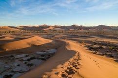 Piękne nadzwyczajne czerwone piasek diuny przy sławnym Deadvlei blisko Sossusvlei w Namib pustyni, Namibia, afryka poludniowa Zdjęcia Royalty Free