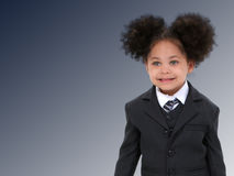 piękne niebieskie ciemno w garniturze biznesowe krawata kobietą trochę obrazy stock