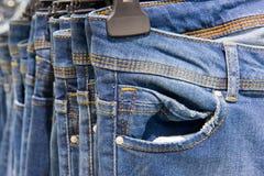 piękne niebieskie jeansy tło Zdjęcia Royalty Free