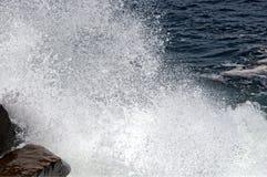 Piękne ocean fala Roztrzaskuje Przeciw Rockport, MA wybrzeże Obraz Royalty Free