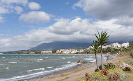 Piękne plaże Costa Del Zol w Estepona, Andalusia Obrazy Royalty Free