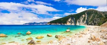 Piękne plaże Grecja serie - Myrtos w Kefalonia, I fotografia royalty free