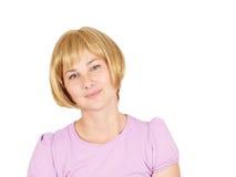 piękne portret kobiety young Blondynki dziewczyny uśmiechnięty zakończenie zdjęcia royalty free