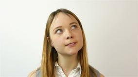 piękne portret kobiety young Gest rozczarowanie portret piękna młoda kobieta Gest żal zdjęcie wideo
