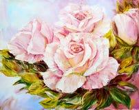 Piękne róże, obraz olejny royalty ilustracja