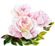 Piękne róże, obraz olejny na kanwie ilustracji