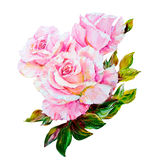 Piękne róże, obraz olejny na kanwie royalty ilustracja