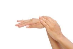 Piękne ręki młoda kobieta, ciało opieka Zdjęcia Royalty Free