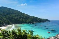 piękne wysp brytyjskich wysp raju piasku palm piaskowatych kawałki drzewa w kolorze turkusowym dziewica white wody Obrazy Royalty Free