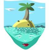 piękne wysp brytyjskich wysp raju piasku palm piaskowatych kawałki drzewa w kolorze turkusowym dziewica white wody royalty ilustracja