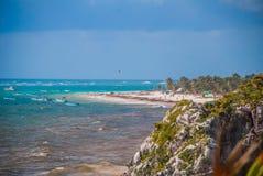piękne 2007 wysp krajobrazów Mindanao Philippines wziąć z tropikalnego Widok z lotu ptaka morze karaibskie w Tulum na słonecznym  Zdjęcie Stock