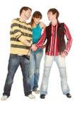 piękne zakład frontu chłopaki ma dwie dziewczyny Zdjęcie Royalty Free