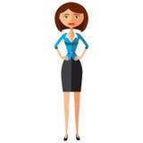 Pięknego brunetka bizneswomanu kreskówki wektoru trwanie płaska ilustracja EPS10 pojedynczy białe tło Zdjęcie Royalty Free