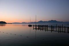 pięknego chiemsee jeziorny czerwony wschód słońca Zdjęcie Royalty Free
