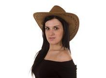 pięknego czarni włosy kapeluszowi kobiety potomstwa Zdjęcia Royalty Free