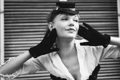 pięknego czarny portreta retro biała kobieta Zdjęcia Royalty Free