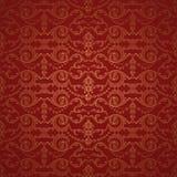 Pięknego czerwień adamaszka bezszwowy deseniowy tło Zdjęcie Stock