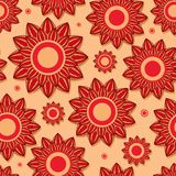 Pięknego Czerwonego Kwiatu Bezszwowy Wzór Fotografia Royalty Free