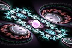 Pięknego fractal czarni i kolorowi tapetowi geometryczni kształty ilustrują astronautycznego wszechrzeczego magicznego częstotliw ilustracja wektor