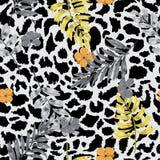 Pięknego i modnego Tropikalnego lata kwiecisty safari opuszcza na exo royalty ilustracja