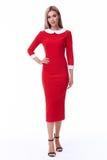 Pięknego kobieta modela mody odzieży beżowego koloru formalny kostium dyszy Zdjęcia Stock