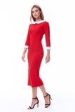 Pięknego kobieta modela mody odzieży beżowego koloru formalny kostium dyszy Fotografia Royalty Free