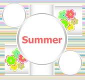 Pięknego lata zaproszenia kwiecista karta wakacje letni, kwiaty i abstrakt, wykładamy set Obrazy Royalty Free