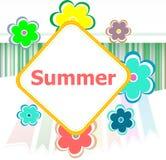 Pięknego lata zaproszenia kwiecista karta wakacje letni, kwiaty i abstrakt, wykładamy set Zdjęcie Stock
