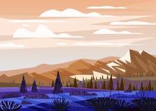 Pięknego lato góry krajobrazu dolinna wiejska wieś, zieleni wzgórza, jaskrawy koloru niebieskie niebo, puszek, łąki z ilustracja wektor
