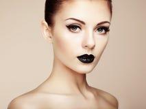 pięknego makeup piękna kobieta piękna odosobniony portreta biel Zdjęcie Royalty Free