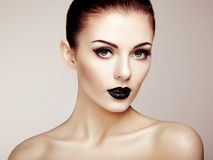 pięknego makeup piękna kobieta piękna odosobniony portreta biel Zdjęcie Stock