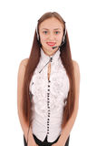 Pięknego obsługa klienta operatora studencka dziewczyna z headse Zdjęcia Royalty Free