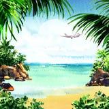 Pięknego raju tropikalna wyspa z tropikalną plażą, ocean, piaskowata plaża, drzewka palmowe, skały, latający samolot na niebie royalty ilustracja