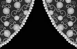 Pięknego rocznika kwiecista koronkowa zasłona Fotografia Stock